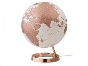 , globe Bright Copper 30cm diameter kunststof voet engelstalig