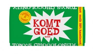 , Chocolade Tony`s Chocolonely reep 180gr melk noga Liefde