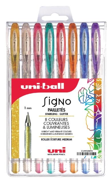 ,Gelschrijver Uni-ball Signo glitter etui à 8 kleuren