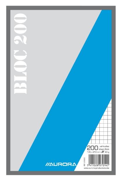 ,Kladblok 135x210mm ruit 5X5mm 200vel