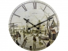 ,Wandklok NeXtime dia. 50 cm, hout, `Scene on ice near town`