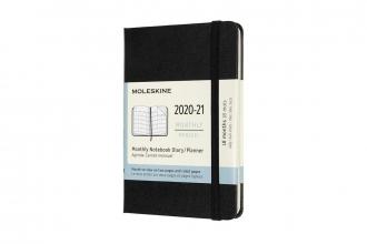 , Moleskine 18 MND Agenda - 2020/21 - Maandelijks - Pocket (9x14 cm) - Zwart - Harde Kaft