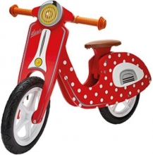 , DUSHI SCOOTER HOUT ROOD WIT STIP