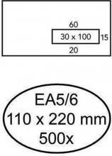, Envelop Hermes EA5/6 110x220mm venster 3x10rechts zelfkl 500