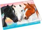 <b>10133 a</b>,Miss melody doos met schrijfwaren blauw 3 paarden