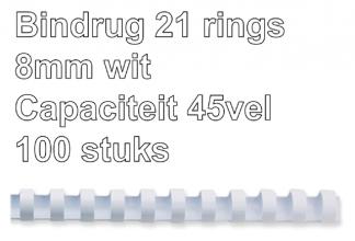, Bindrug Fellowes 8mm 21rings A4 wit 100stuks