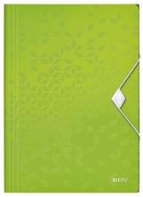 , Elastomap Leitz WOW 3-kleps A4 PP groen