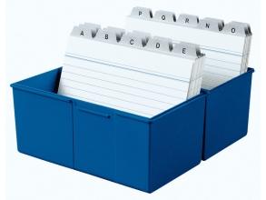 , kaartenbak HAN breed A6 kunststof blauw