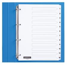 , Tabbladen Quantore 4-gaats 1-12 genummerd wit karton