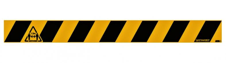, Vloersticker Houd afstand geel-zwart 8x80cm
