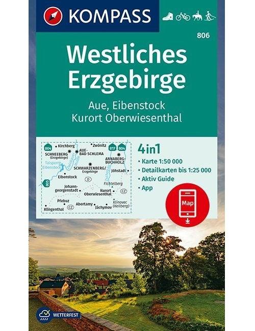 Kompass-Karten Gmbh,Westliches Erzgebirge, Aue, Eibenstock, Kurort Oberwiesenthal 1:50 000
