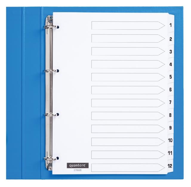 ,Tabbladen Quantore 4-gaats 1-12 genummerd wit karton