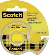 , Plakband Scotch 665 12mmx6.3m dubbelzijdig + afroller