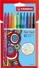 , Viltstift STABILO Trio 2 in 1 etui  à 10 kleuren