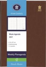 , Ryam bureauagenda 2021 weekly 210x297 kolommen bruin