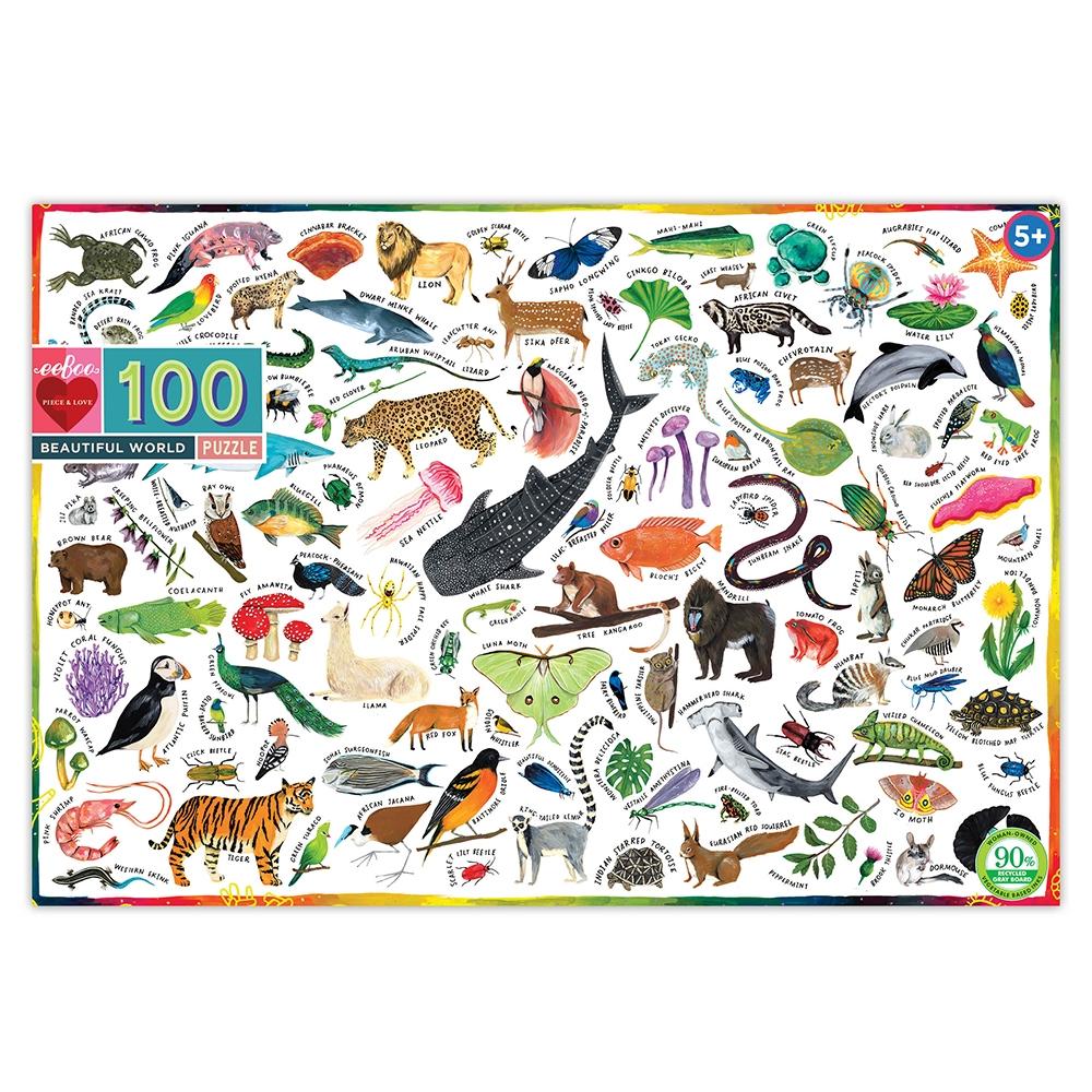 Eeb-pzbuw,Puzzel eeboo - beautiful world - 100 stukjes- 45.7x68.5 cm
