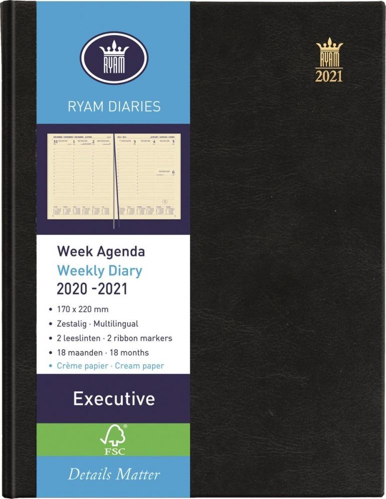 ,Bureau agenda 2021 ryam executive 7dag/2pag zwart 17x22