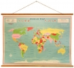 <b>Vintage wereldkaart tussen houten latjes 104x75 cm</b>,
