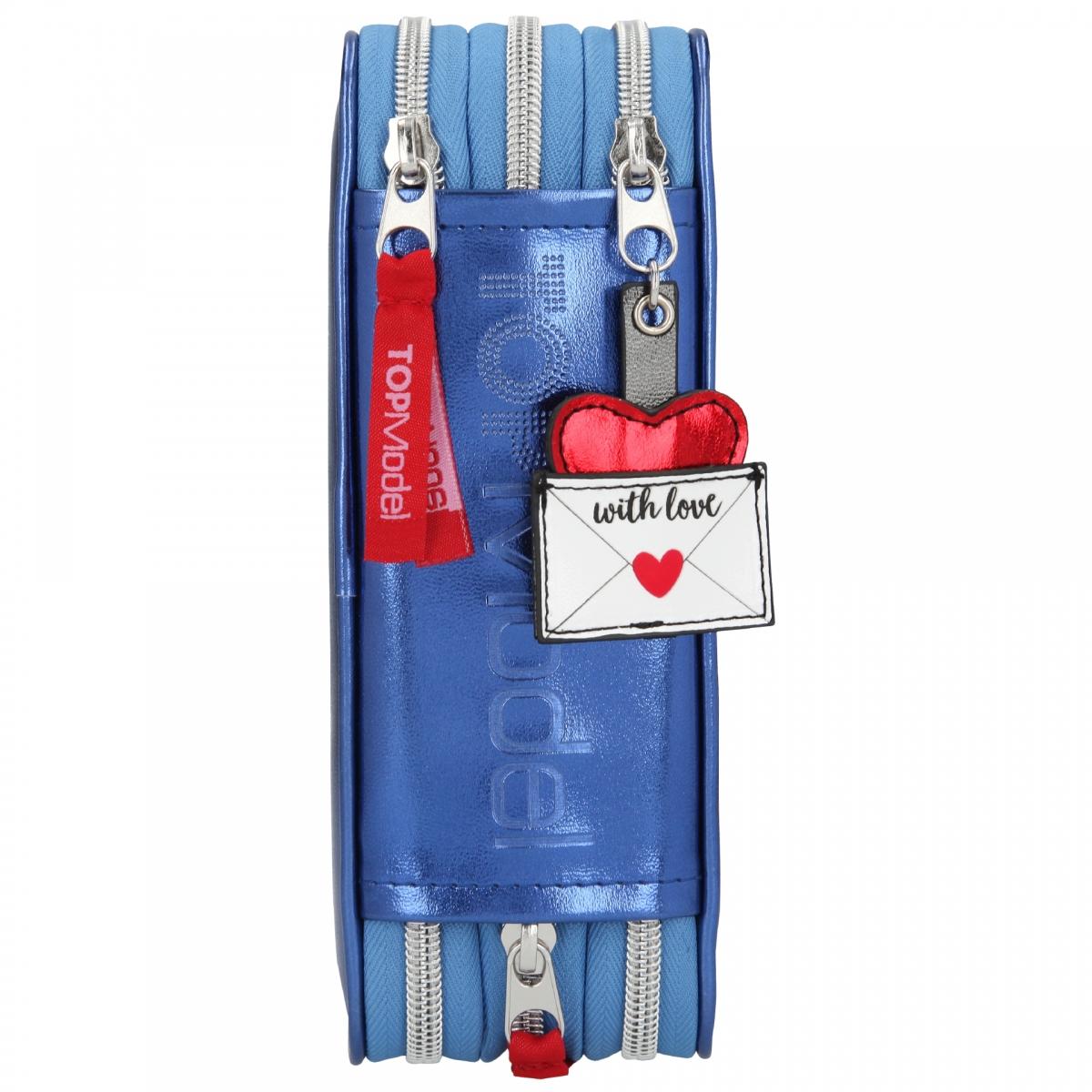 ,Topmodel 3-vaks etui gevuld love letters blauw