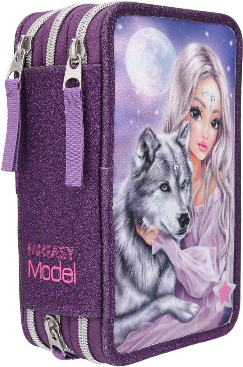 ,Fantasymodel 3-vaks etui wolf led