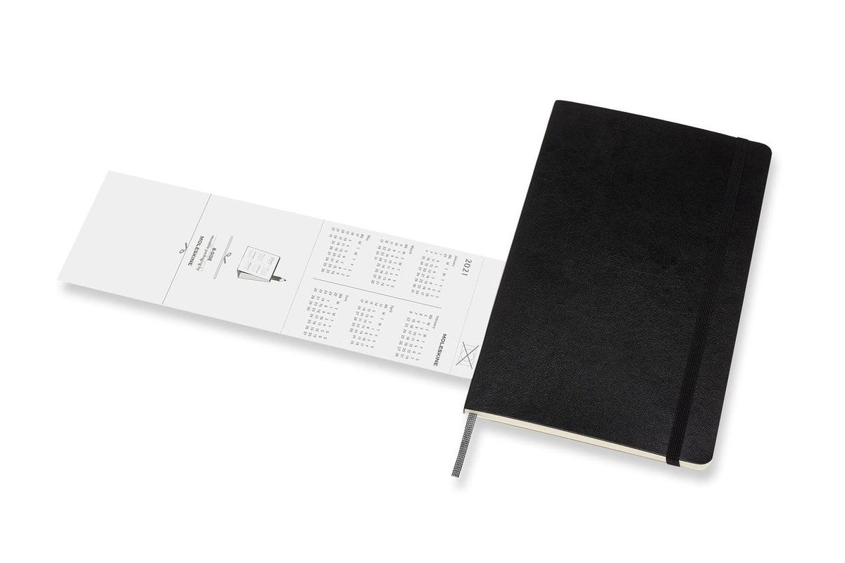 ,Moleskine 18 MND Agenda - 2020/21 - Maandelijks - Large (13x21 cm) - Zwart - Zachte Kaft
