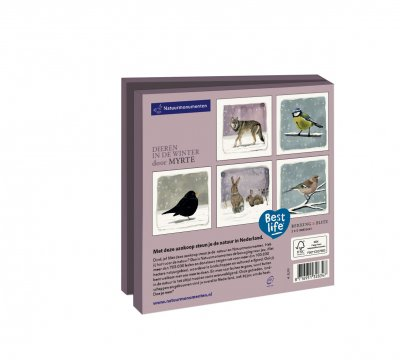 Wmc1016,Kerstkaart mapje 10 stuks met env natuurmonumenten myrthe dieren in de winter
