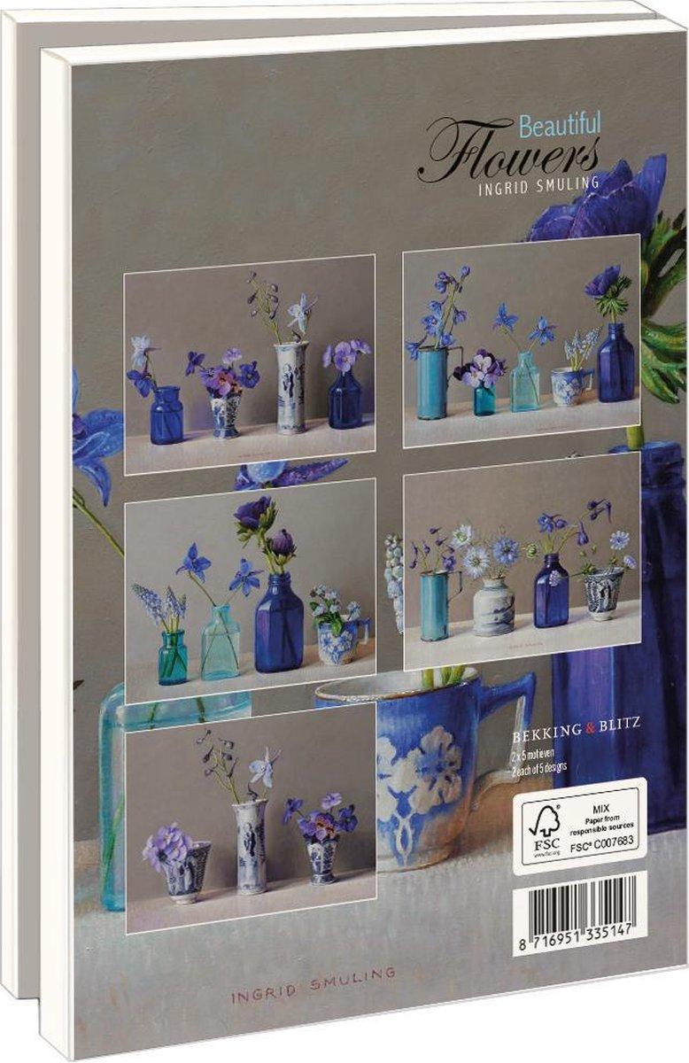 Lmc368,Notecards 10 stuks 13x18 beautiful flowers ingrid smulling