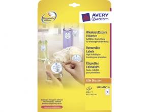 , etiket Avery ILK 63,5x42,3mm NP 25 vel 18 etiketten per vel wit