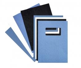 , Voorblad GBC A4 lederlook met venster blauw 50stuks