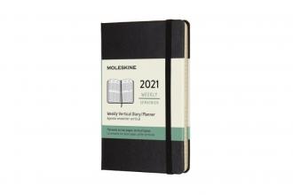 , Moleskine 12 MND Agenda - 2021 - Wekelijks - Vertical Pocket (9x14 cm) - Zwart - Harde Kaft