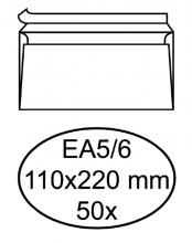 , Envelop Hermes bank EA5/6 110x220mm zelfklevend wit 50stuks