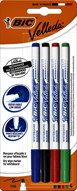 ,Viltstift Bic 1721 whiteboard rond 1.5mm blister à 4 stuks assorti