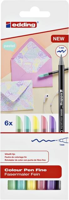,Fineliner edding 1200 pastel assorti 0.5-1mm blister à 6 stuks