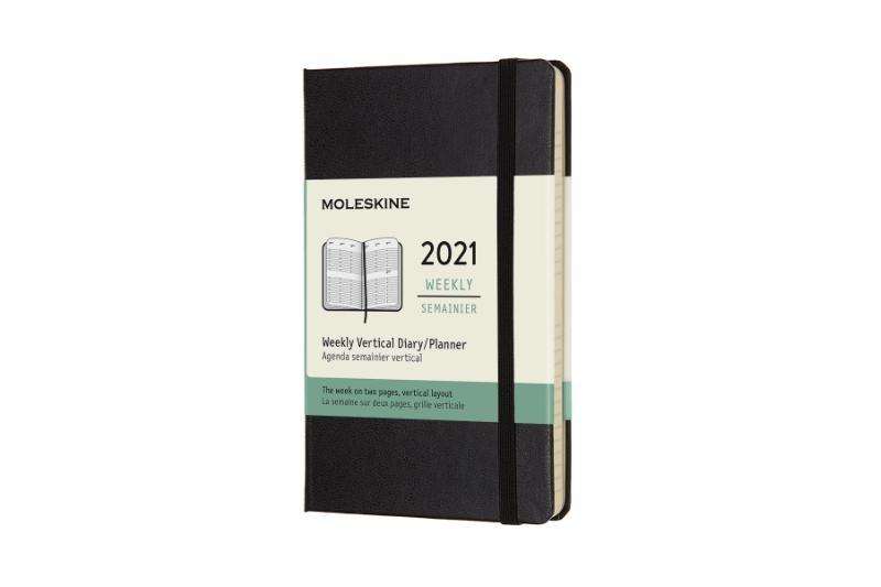 ,Moleskine 12 MND Agenda - 2021 - Wekelijks - Vertical Pocket (9x14 cm) - Zwart - Harde Kaft