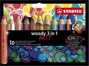 , Kleurpotloden STABILO Woody 880/10-1-20 etui à 10 kleuren met puntenslijper