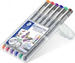 , Fineliner Staedtler Pigment 308 0.3mm set à 6st assorti