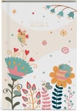 , Zakagenda 2021 fragile creme bloemen 8x12