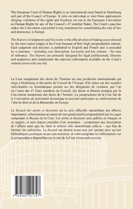 European court of human rights,Reports of judgments and decisions; recueil des arrets et decisions 2011-II