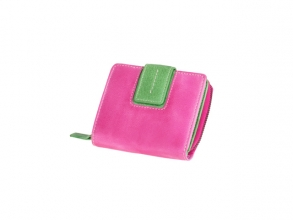 , Portefeuille Mika roze/groen leer. 9x10,5x3cm