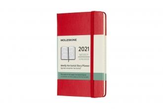 , Moleskine 12 MND Agenda - 2021 - Wekelijks - Horiz. Pocket (9x14 cm) - Scarlet Rood - Harde Kaft