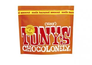 , Chocolade Tony`s Chocolonely Tiny melk karamel zeezout 180g zak à 20 stuks