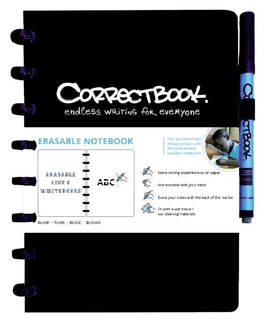,Notitieboek Correctbook uitwisbaar en herbruikbaar A5 zwart blanco 40blz