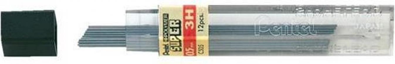 , Potloodstift Pentel 0.5mm zwart per koker 3H