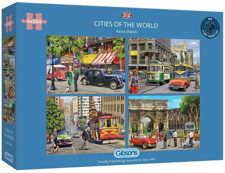 Gib-g5044,Puzzel gibsons cities of the world 4x500 stukjes elk 48x34xm