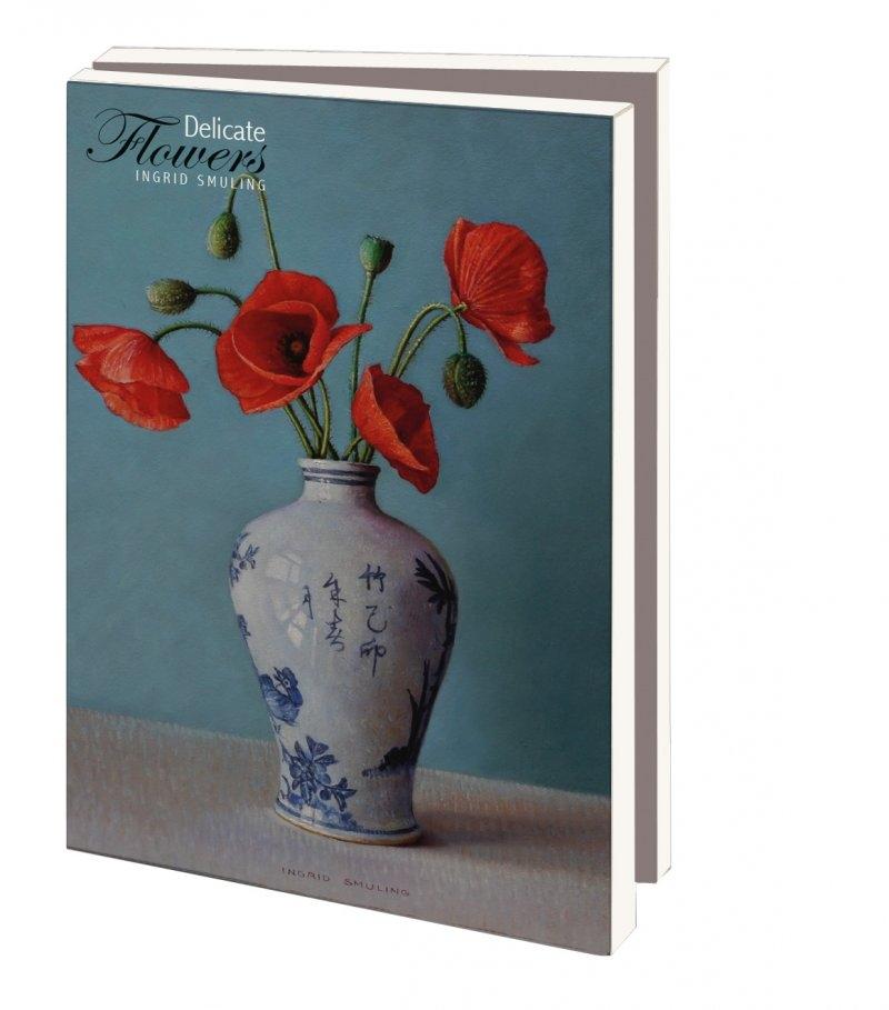 Mcw238,Notecards 10 stuks 8x14 delicate flowers ingrid smulling