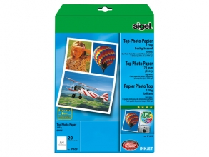 , inkjetpapier Sigel A4 170grs pak a 20 vel hoogglans hoogwit