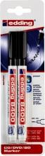, Cd marker edding 8400 rond  0.5-1.0mm blister à 2 stuks zwart