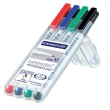 , Viltstift Staedtler 301 whiteboard rond assorti 1mm 4stuks