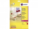 ,laseretiket Avery 63,5x29,6mm 25 vel 27 etiketten per vel   neonrood