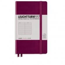 , Leuchtturm notitieboek pocket 90x150 lijn port rood